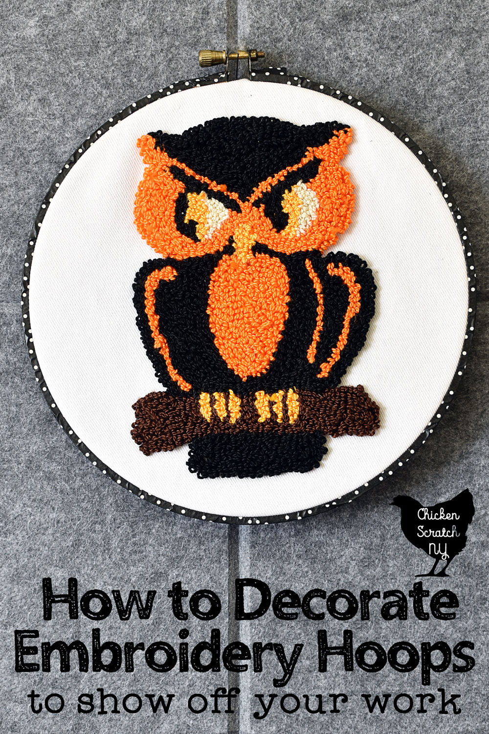 vintage Halloween Owl punched in DMC pearl cotton with black and white polka dot washi tape with text overlay How to decorate Embroidery Hoops to show off your work