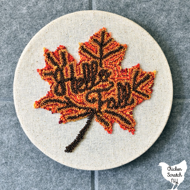 autumn maple leaf puinch needle emboidery hung up without the outer hoop