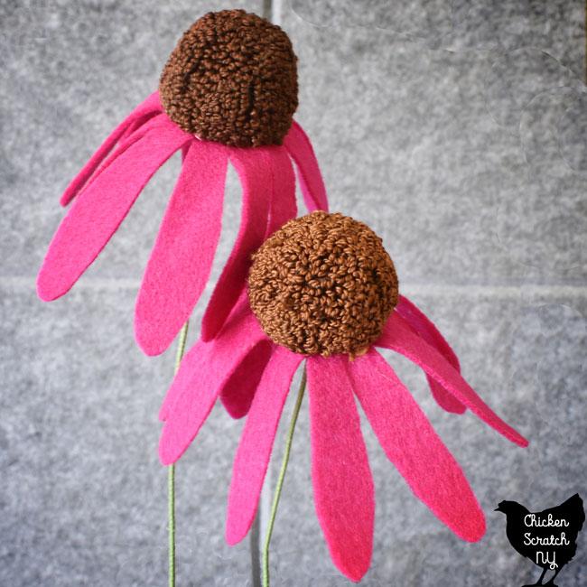 felt flower petals with a punch needle center